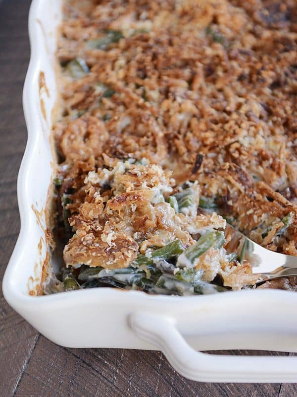 From-Scratch Homemade Green Bean Casserole with Extra Crunchy Topping