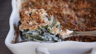 Homemade Green Bean Casserole with Extra Crunchy Topping