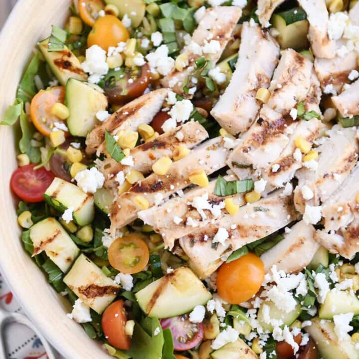 Grilled Chicken and Vegetable Orzo Salad with Honey Lime Dressing