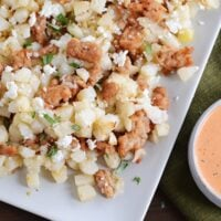 Roasted Red Pepper and Pesto Hash Browns with Sausage and Feta