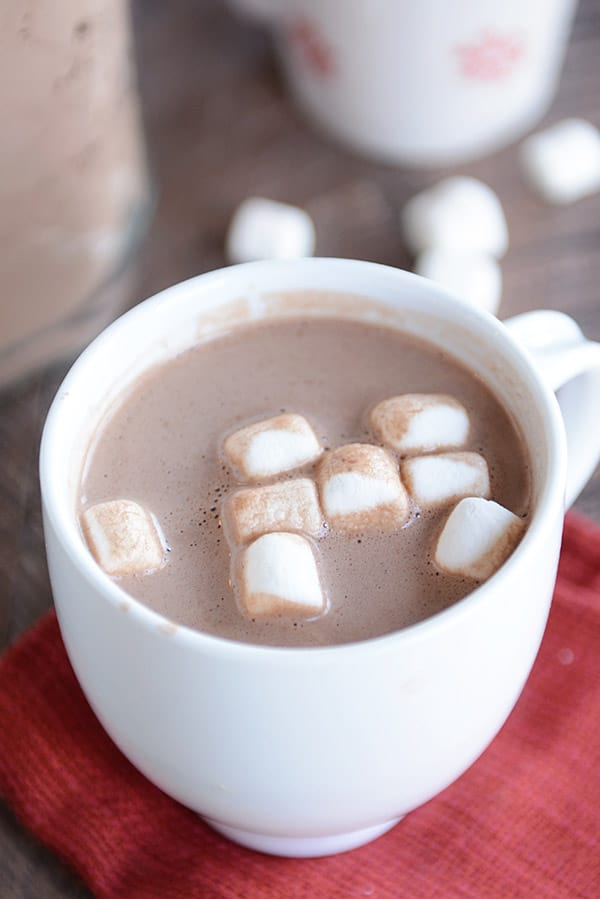 white mug filled with hot chocolate and mini marshmallows