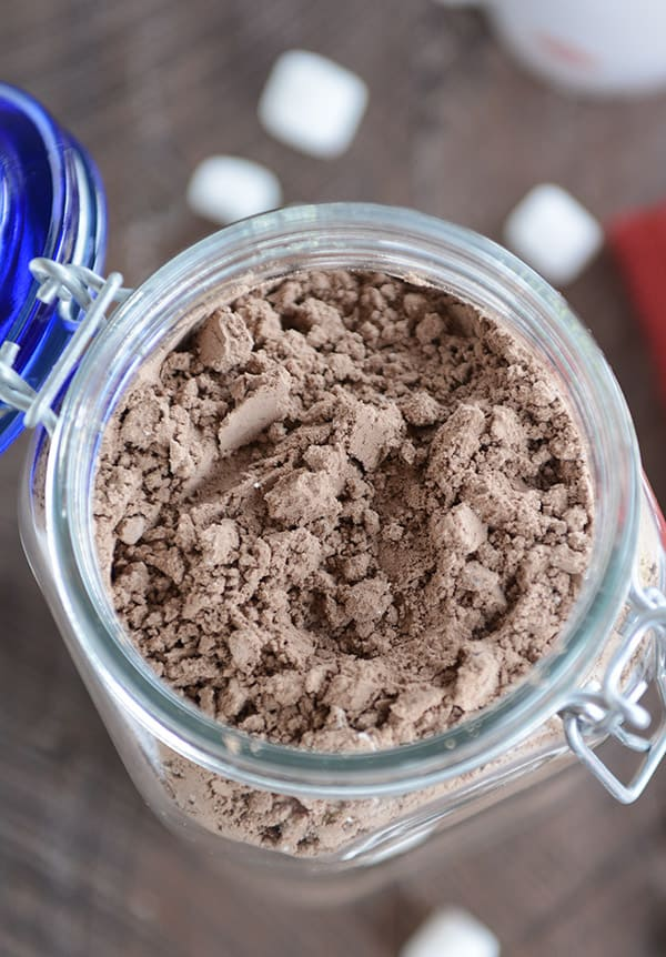 glass jar filled with homemade hot chocolate powder