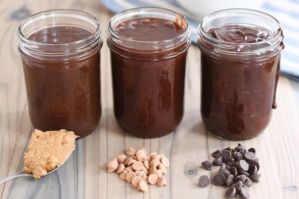 Three jars of 5-minute hot fudge sauce.