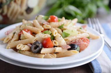 Simple Italian Salami and Mozzarella Pasta Salad