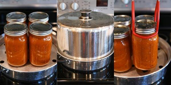 Processing quart jars of homemade spaghetti sauce.