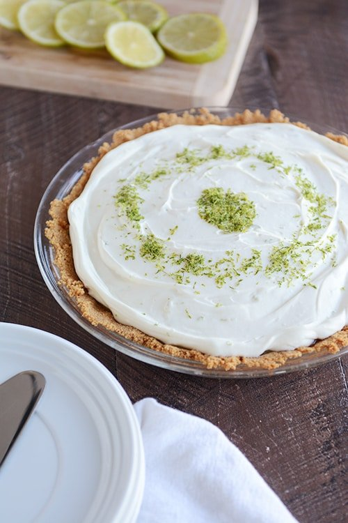 ... over dessert, let me say it again: this pie is for lime lovers only