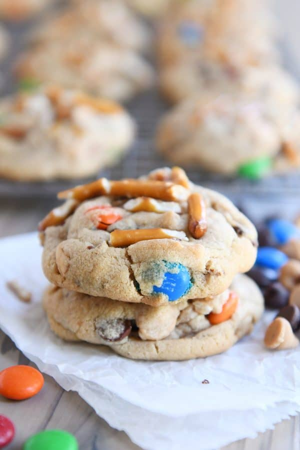 Stack of two baked peanut butter kitchen sink cookies