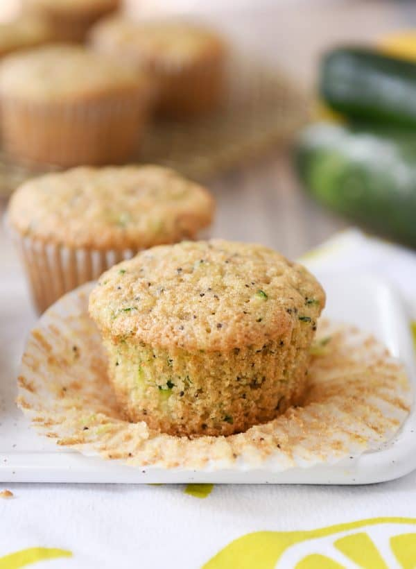 Unwrapped lemon poppy seed zucchini muffin.