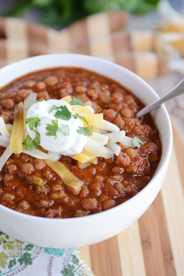 Delicious Instant Pot Lentil Chili {Stovetop and Slow Cooker Instructions Included!}