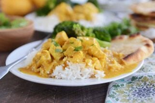 Thai Mango Chicken Red Curry with Coconut Rice {Quick and Easy}