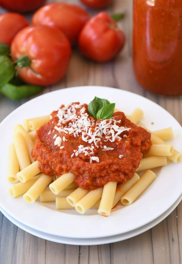 Homemade canned spaghetti sauce recipe with penne pasta.