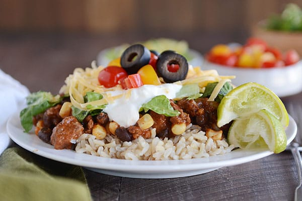 Mexican Haystacks: a smorgasbord of delicious taco flavors simmered together in a tasty sauce served over rice or quinoa. Easy, fast, yummy!