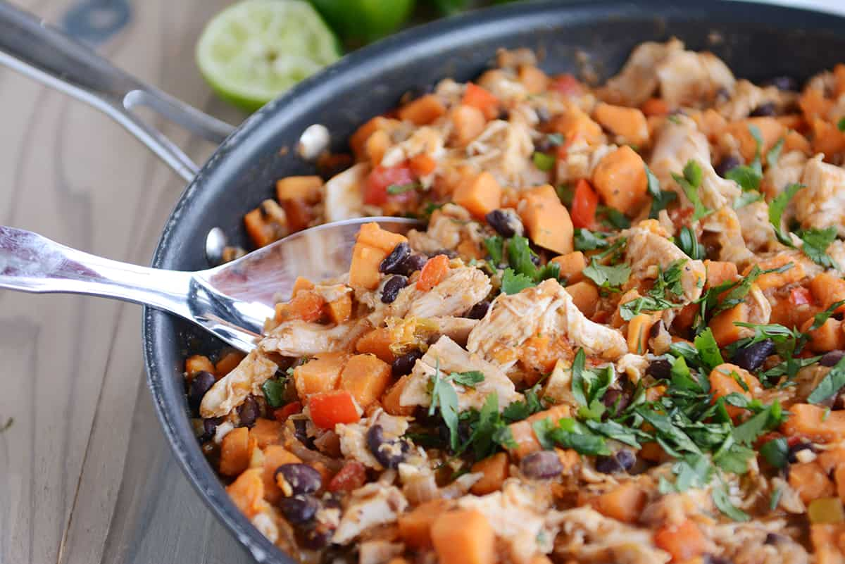 cheesy mexican chicken sweet potato skillet meal mel s kitchen cafe rh melskitchencafe com