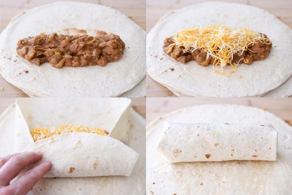 How to collage filling and rolling the best freezer beef and bean burritos.