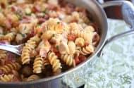 Monterey BBQ chicken pasta in a big skillet.