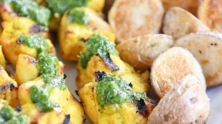 Moroccan Chicken Skewers with Crazy Good Green Sauce