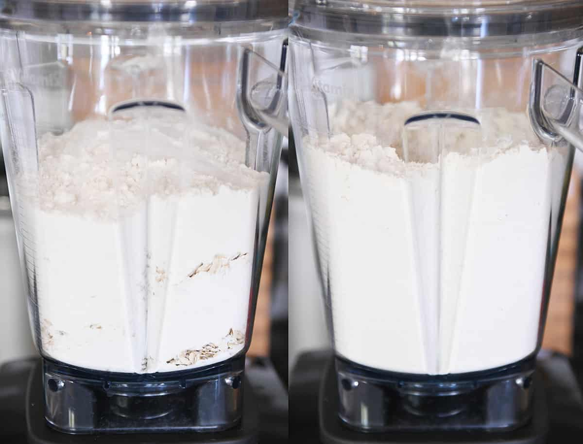 Oatmeal and dry ingredients in blender for cookies.