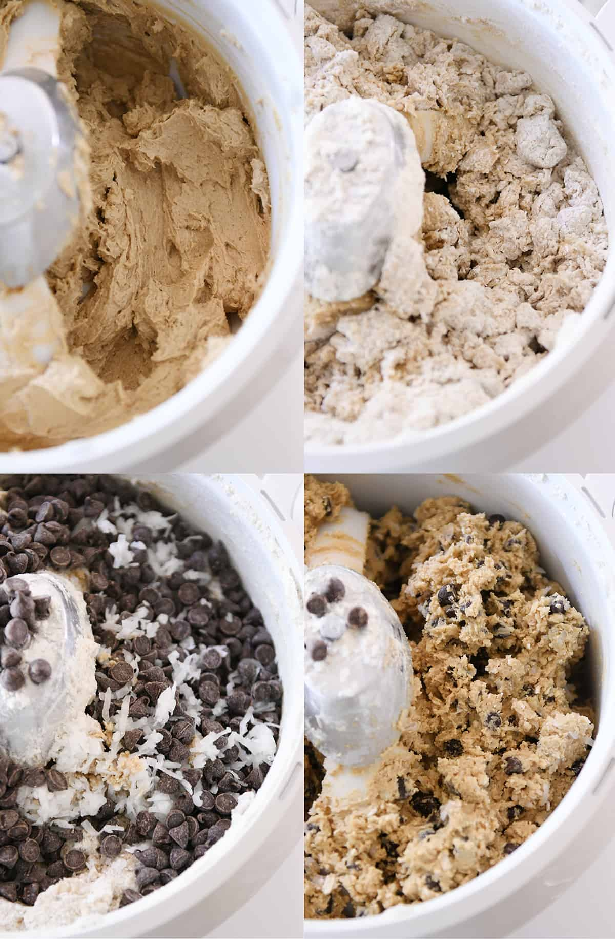 Collage of cookie dough being made with dry ingredients and chocolate chips added in.