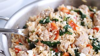 Quick and Easy Pork {or Chicken} Mediterranean Orzo Skillet