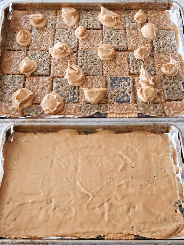 Easy graham cracker toffee with peanut butter spread on top.
