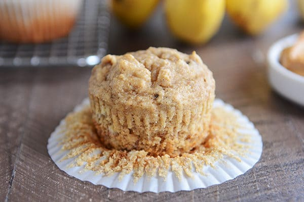 Whole Wheat Peanut Butter and Honey Banana Muffins