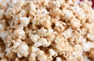 Close up of soft and chewy peanut butter caramel popcorn.