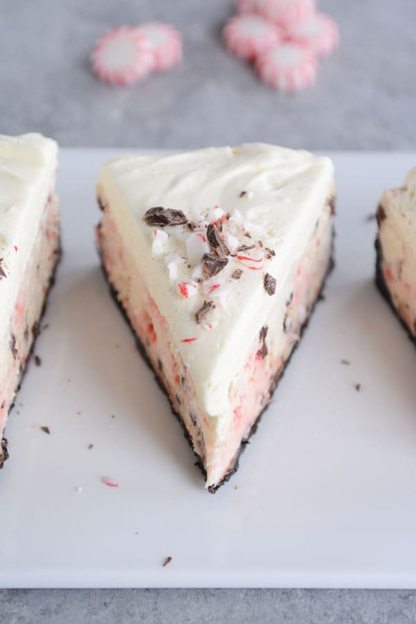 Peppermint Bark Cheesecake with White Chocolate Mousse