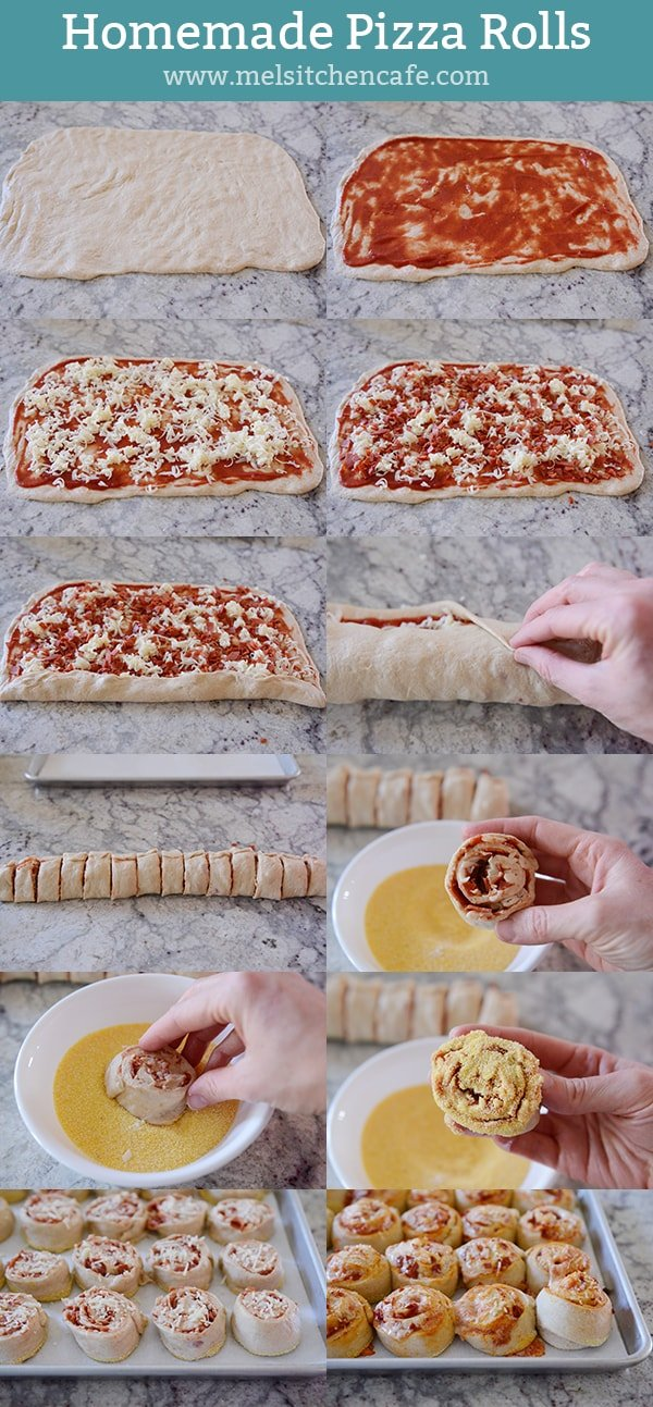 A step-by-step image guide for homemade pizza rolls.