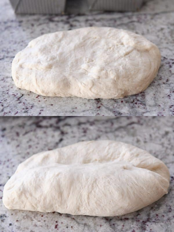 raw bagel bread dough on a granite countertop
