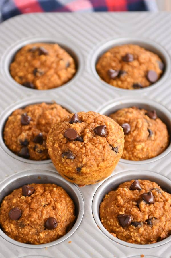 Easy pumpkin blender muffins in muffin tin with one muffin sitting on top.