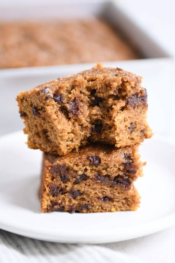 Pumpkin Chocolate Chip Snack Cake {One-Bowl + Whole Grain}