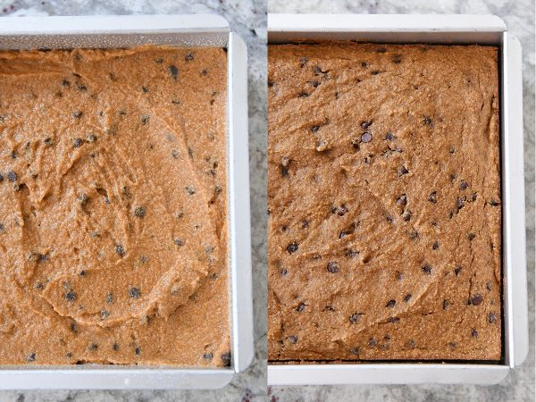 Unbaked and baked pan of pumpkin chocolate chip snack cake batter.