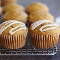 Pumpkin Applesauce Muffins with Maple Cream Glaze