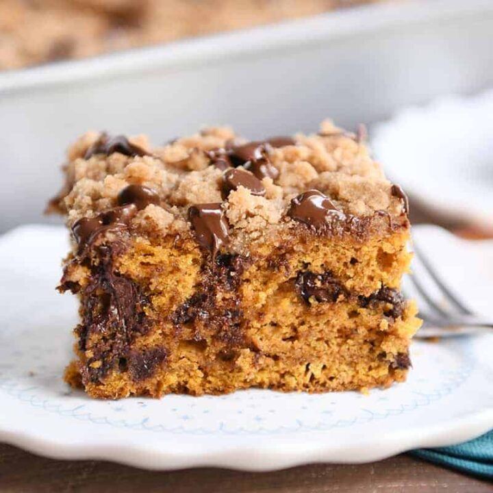Piece of pumpkin chocolate chip streusel cake on white plate.