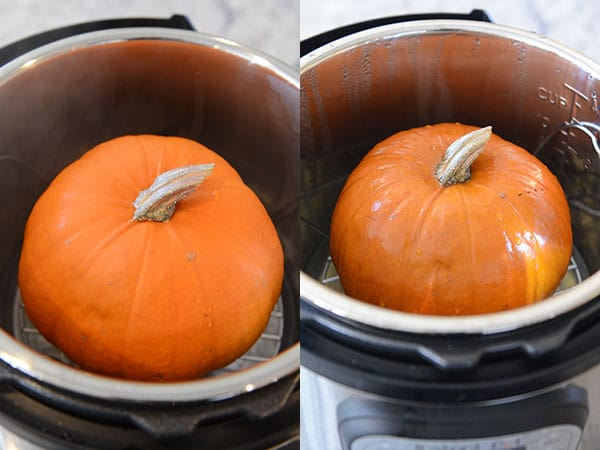 Side-by-side pictures of a small pumpkin inside of an InstanPot.