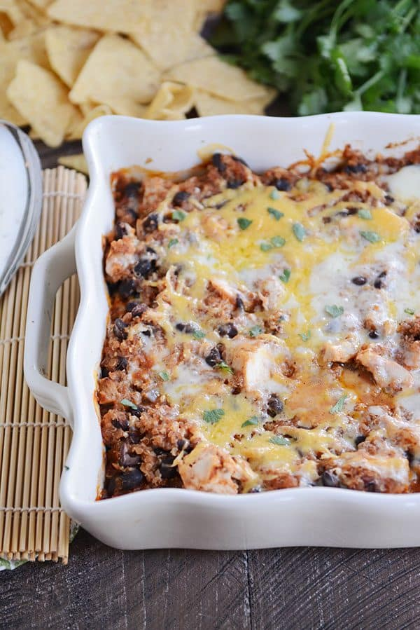Quick and Easy Cheesy Black Bean Quinoa Bake
