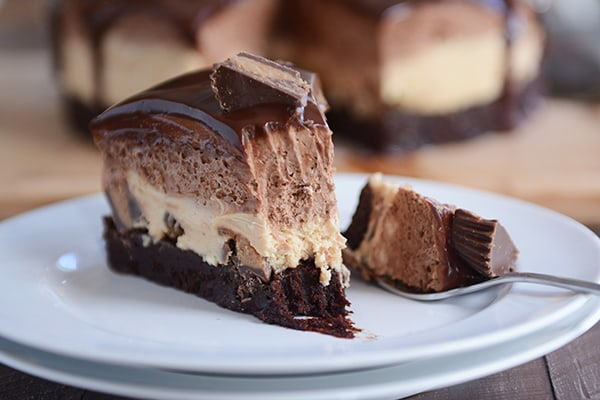 Peanut Butter Chocolate Mousse Brownie Cake