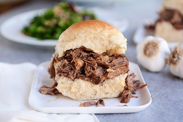 Slow Cooker Roasted Garlic Beef Sandwiches