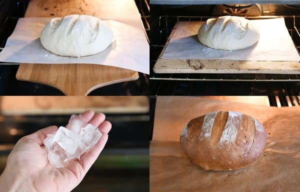 How to make rustic crusty bread collage with bread going on baking stone and using ice cubes in the oven.