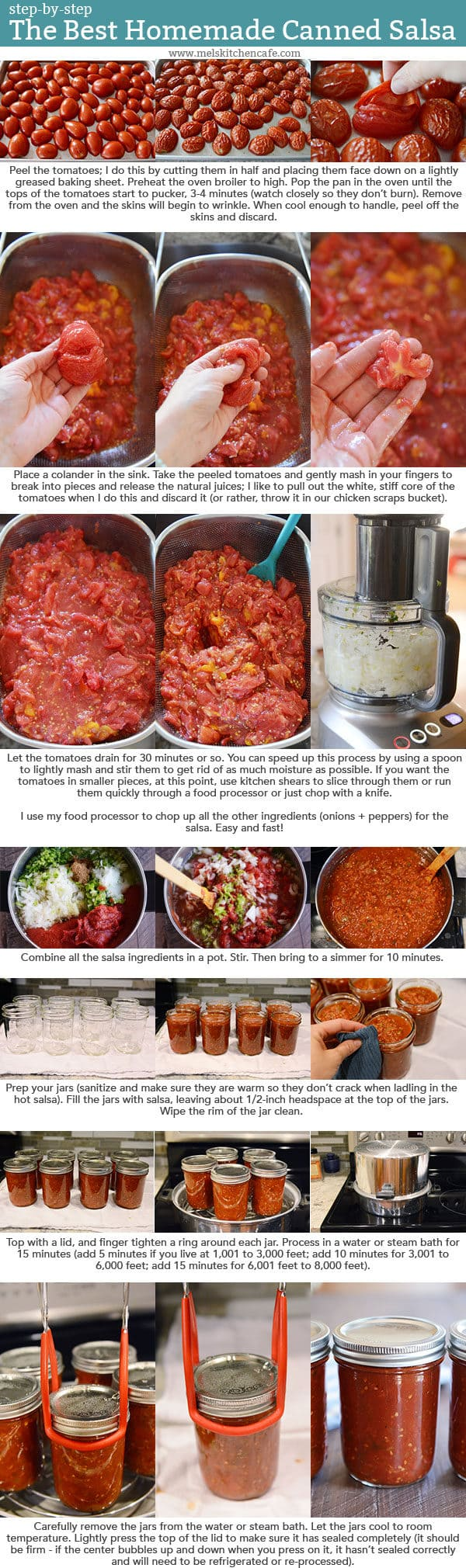 Step-by-step images and text instructions for canning homemade salsa.