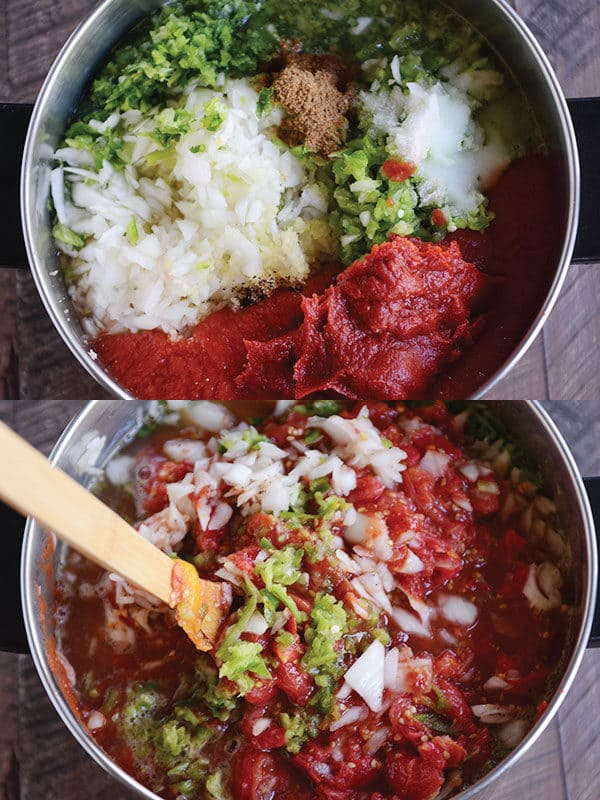 homemade salsa ingredients in a large sauce pot getting stirred