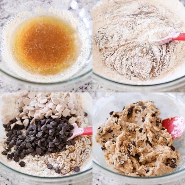 Process collage of brown butter, flour being added to cookie dough, chocolate chips and mixed cookie dough.