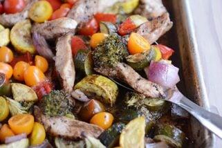 Sheet Pan Balsamic Chicken + Veggies Dinner {30-Minute Meal}