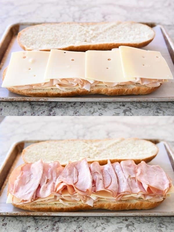 Layering ham and cheese on sheet pan panini.