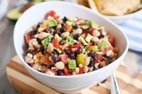 Cowboy caviar dip in white bowl.