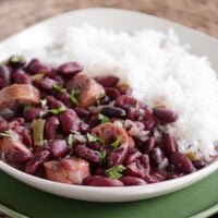Slow Cooker Red Beans and Rice with Chicken Sausage