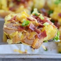 Cheesy Bacon and Garlic Butter Smashed Red Potatoes