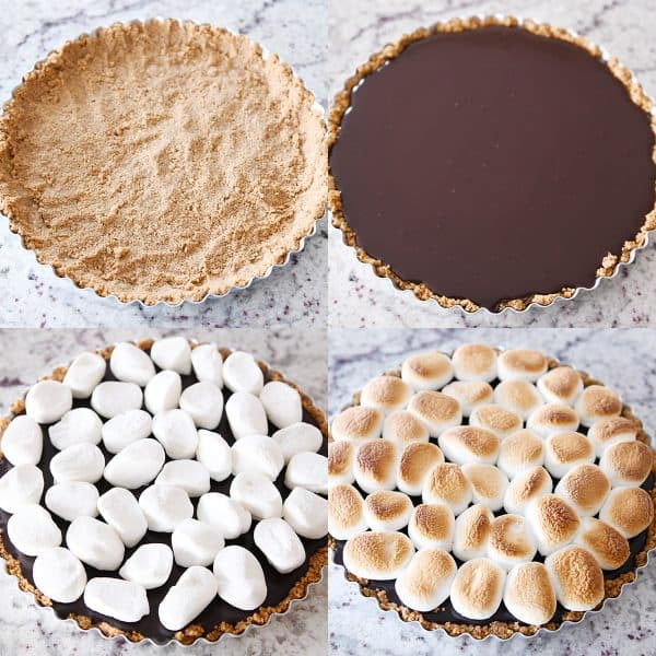 Collage showing assembly of s'mores pie.