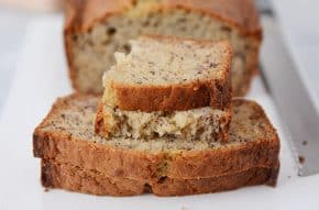 The best banana bread ever! Moist, fluffy, tender...this sour cream banana bread is perfection!