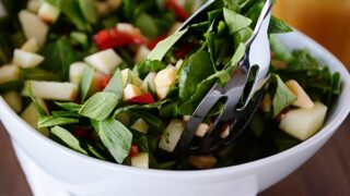 Chopped Spinach and Smoked Gouda Salad with Honey Dijon Vinaigrette
